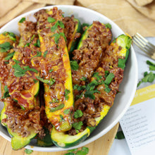 Load image into Gallery viewer, beef enchilada stuffed zucchini