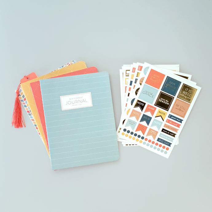 New Testament Bible Journals and Sticker Pack Bundle