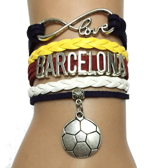 Infinity love Barcelona Bracelet (leather wrapped spain soccer Charm)