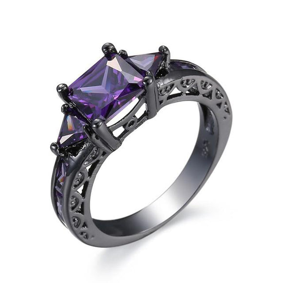Purple Heart Black Gold Color Ring
