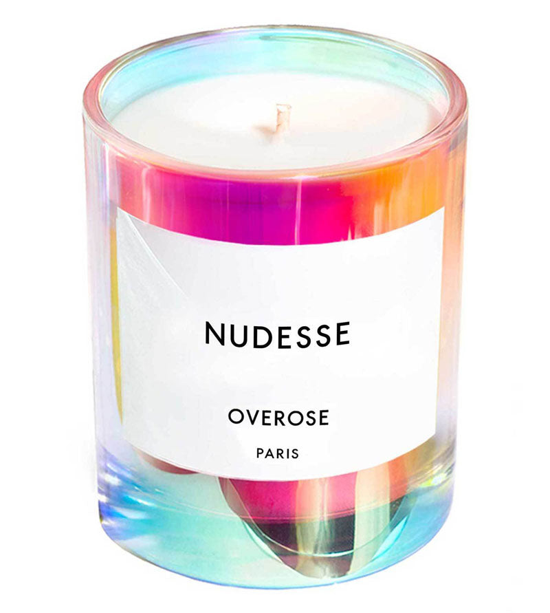 Overose Nudesse holographic iridescent scented candle features fragrance notes of Roses and Rain.