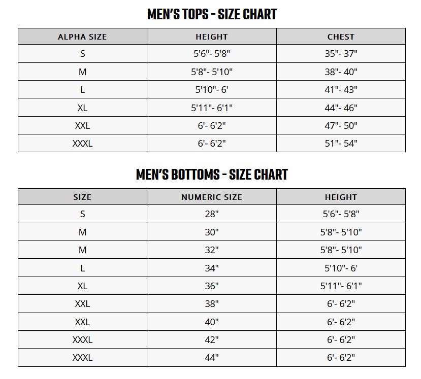 FOX SIZE CHART MEN'S