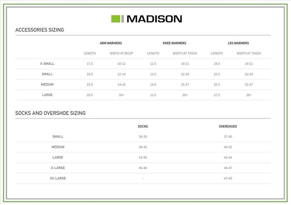 Madison Socks and Accessory Size Chart Jan 2018