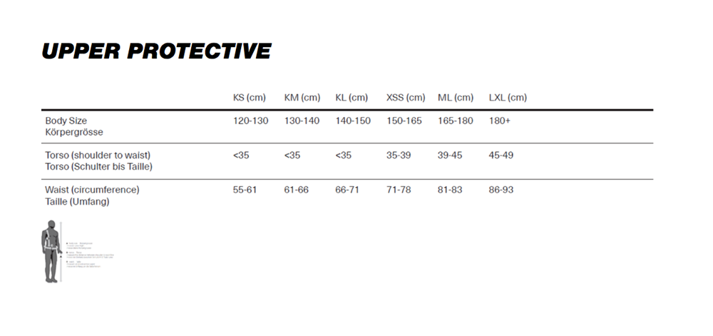 iXS Upper Body Protection Size Chart