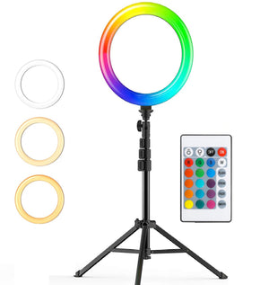 "Multi Colour Strobe 10"" Ring Light 1.6M Tripod With Remote Control"
