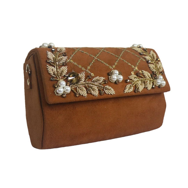 Dabka Embroidered Suede Clutch HX1