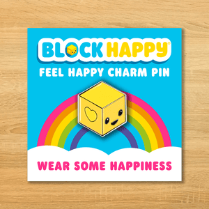 Block Happy signature enamel pin