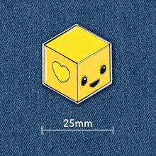 Load image into Gallery viewer, Block Happy signature enamel pin on denim