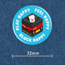 Load image into Gallery viewer, Block Happy button badge on denim