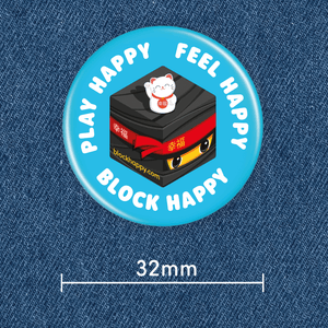 Block Happy button badge on denim