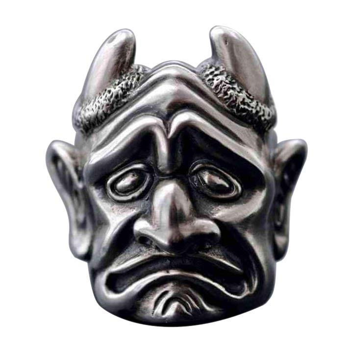 FROWNING GARGOYLE WITH HORNS RING