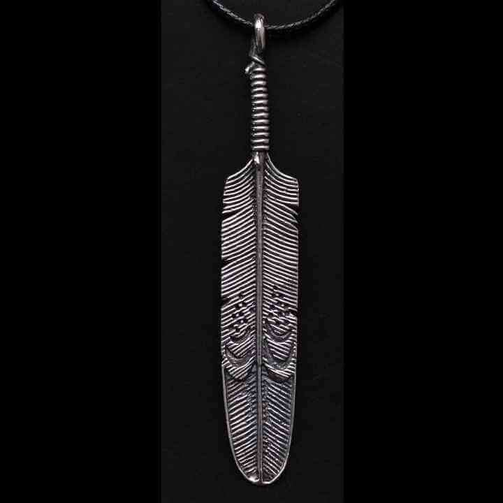 LARGE FEATHER PENDANT - Orfebre Goldsmith NYC