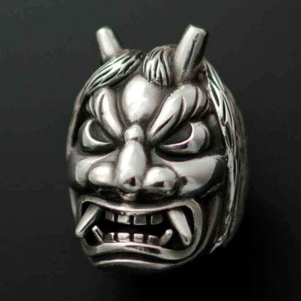 JAPANESE ONI MASK RING - Orfebre Goldsmith NYC