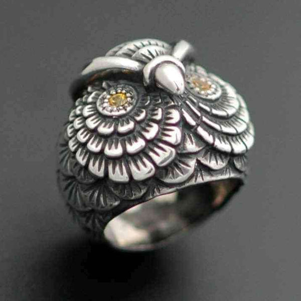 LARGE OWL RING - Orfebre Goldsmith NYC
