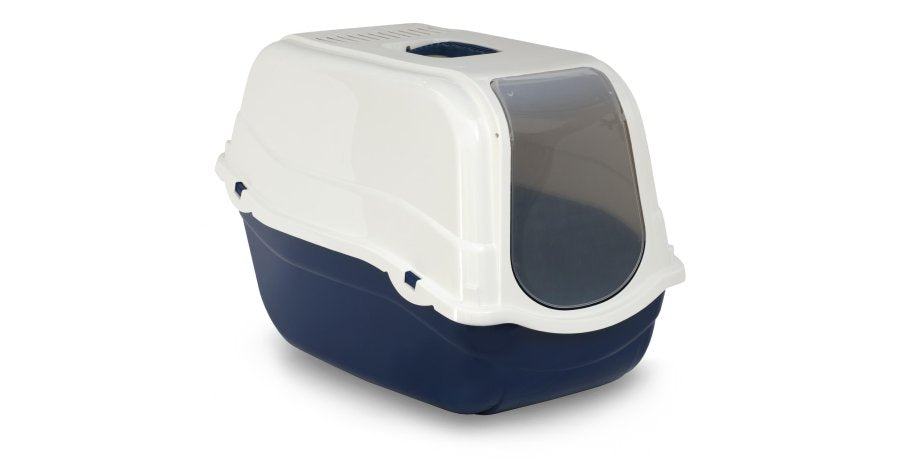Bergamo Romeo Covered Litter Pan with Filter - Blue - Catoro Cat Cafe
