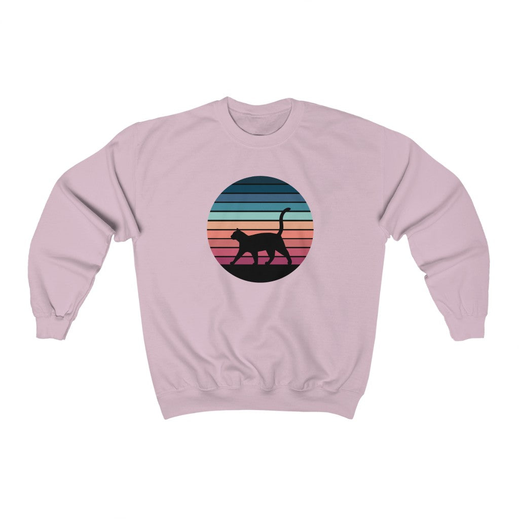Retro Sunset Unisex Crewneck Sweatshirt - Catoro Cat Cafe