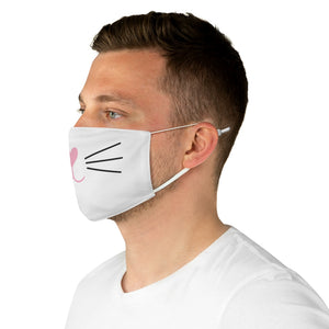 Pink Nose Cat Face Mask (White) - Catoro Cat Cafe