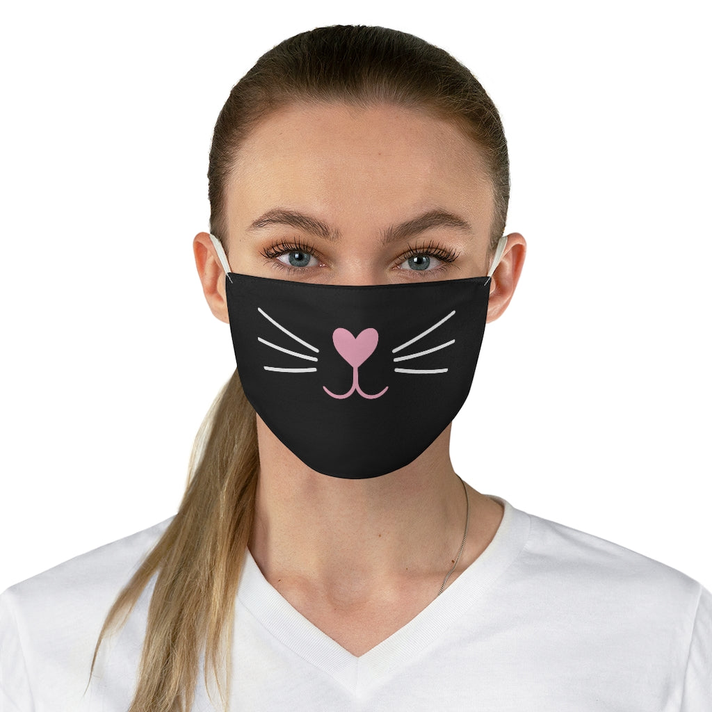 Pink Nose Cat Face Mask (Black) - Catoro Cat Cafe