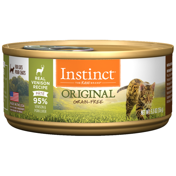 Instinct Cat Original GF GrassFed Venison 12/5.5 oz Cans - Catoro Cat Cafe