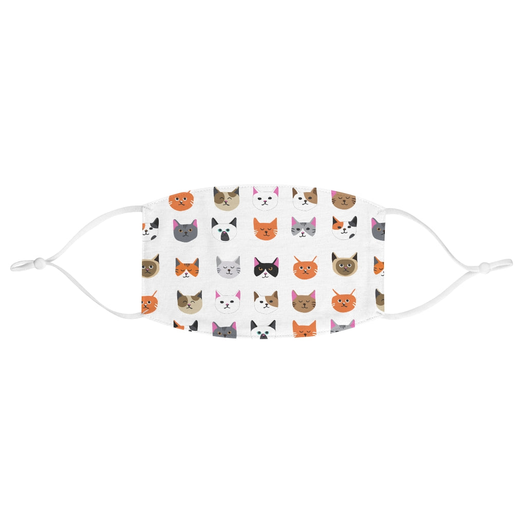 Cat Pattern Face Mask (White) - Catoro Cat Cafe