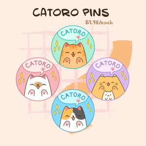 Catoro Button Pins - by Megchan Doodles - Catoro Cat Cafe