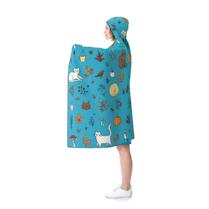 Fall Pattern Hooded Blanket - Catoro Cat Cafe