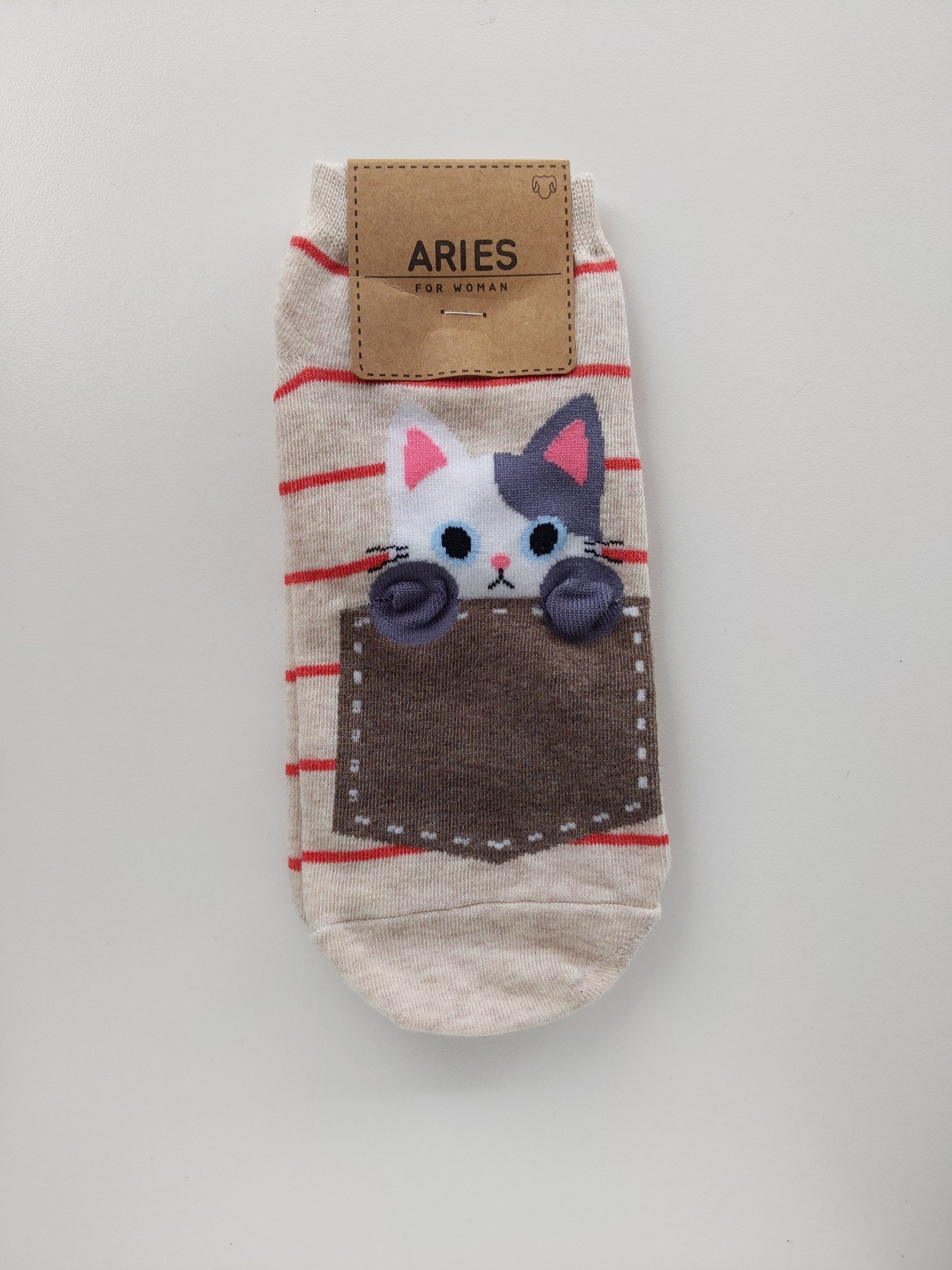 Cat Socks - Brown Pocket and Stripes - Catoro Cat Cafe