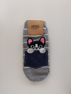 Cat Socks - Blue Pocket and Stripes - Catoro Cat Cafe