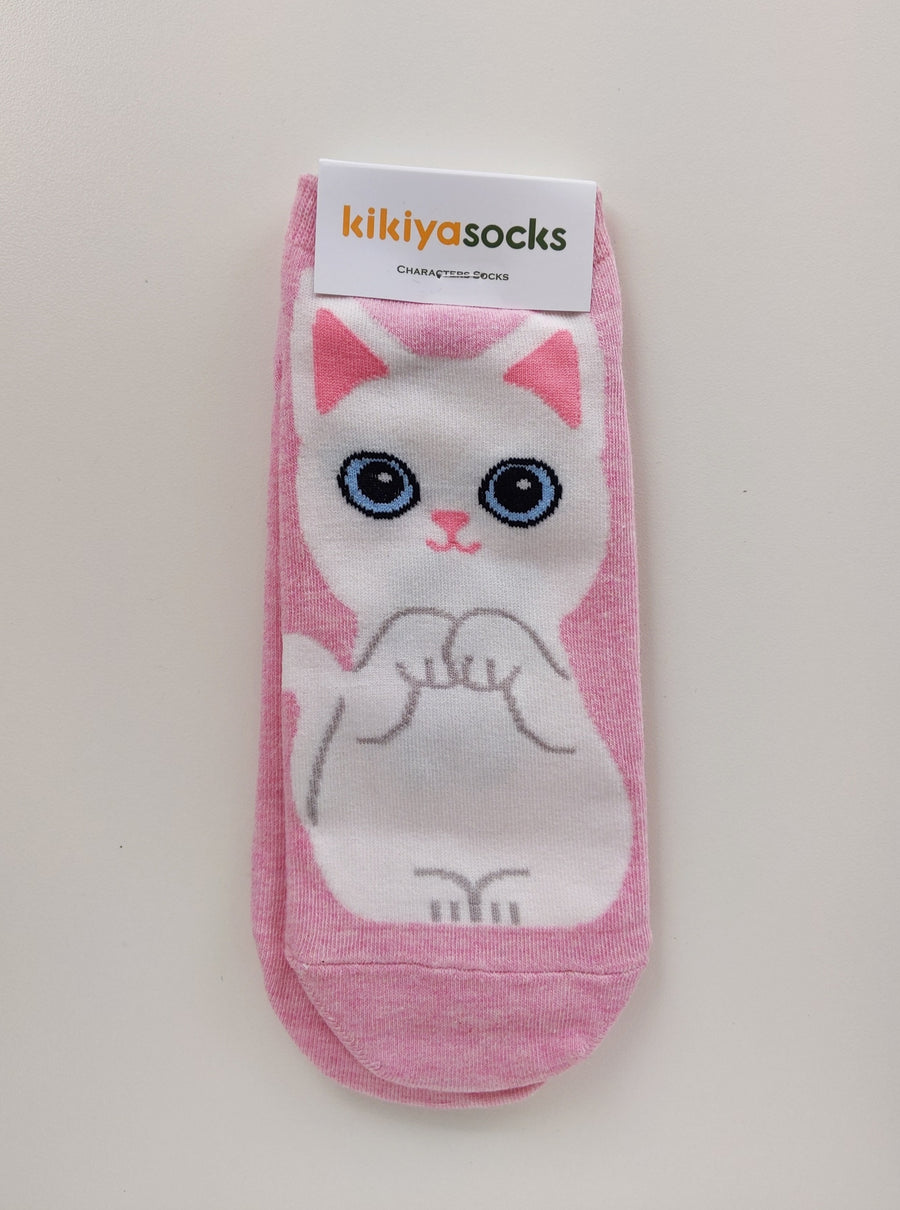 Pink and White Cat Socks - Catoro Cat Cafe