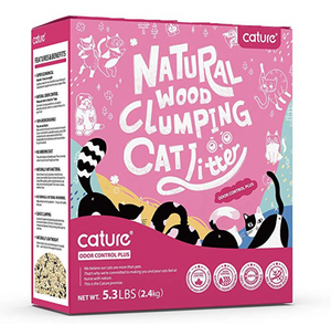 Cature Natural Wood Clumping Flushable Cat Litter Odor Control Plus (5.3lbs) - Catoro Cat Cafe