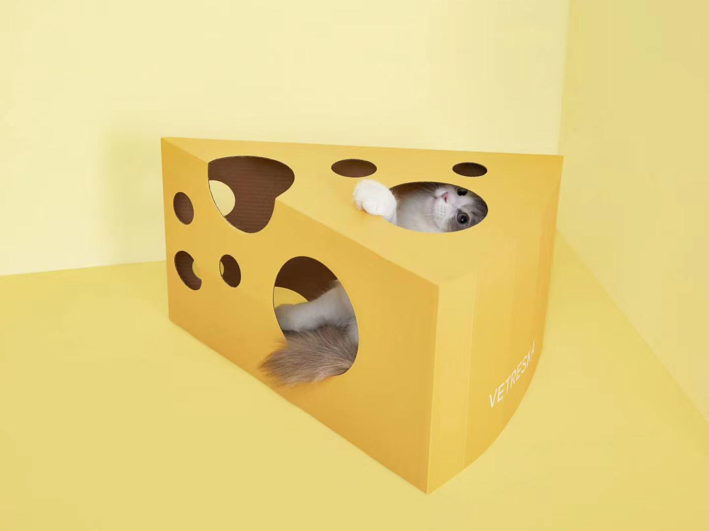 Vetreska Cheese Cat Scratcher Box - Catoro Cat Cafe