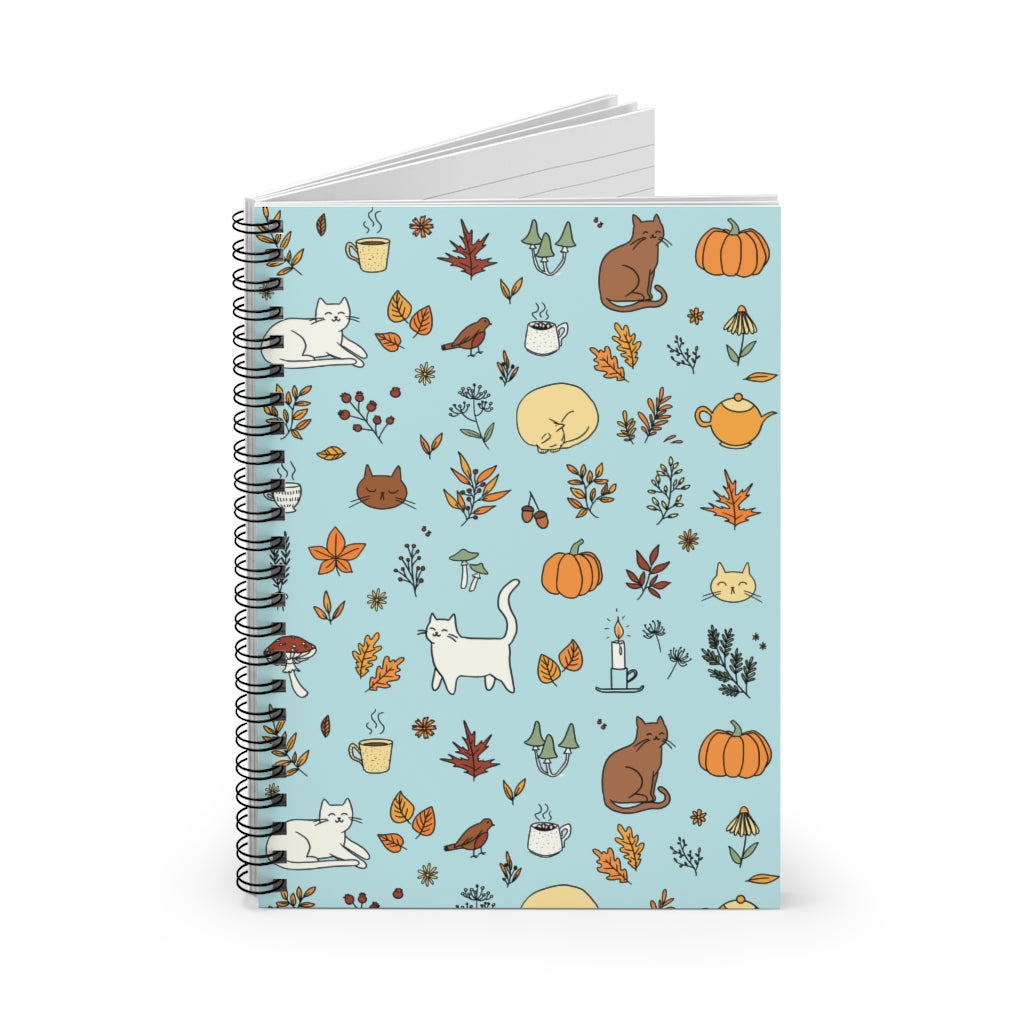 Fall Pattern Spiral Notebook - Ruled Line - Catoro Cat Cafe