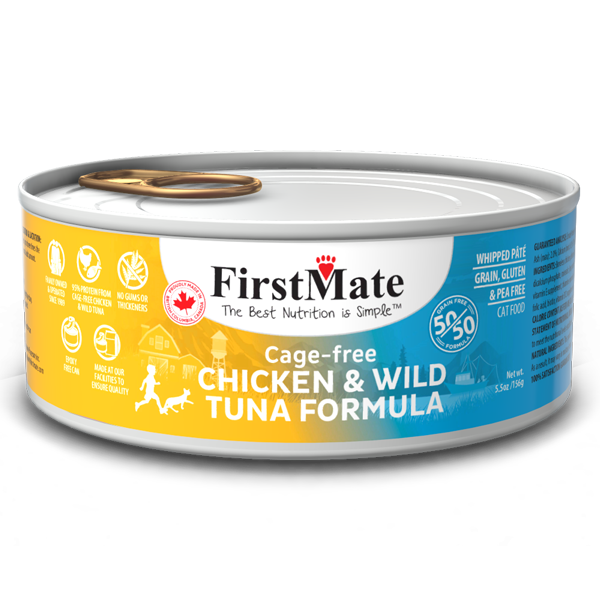 FirstMate Cat GF 50/50 Cage Free Chicken/Wild Tuna (156g/5.5 oz) - Catoro Cat Cafe