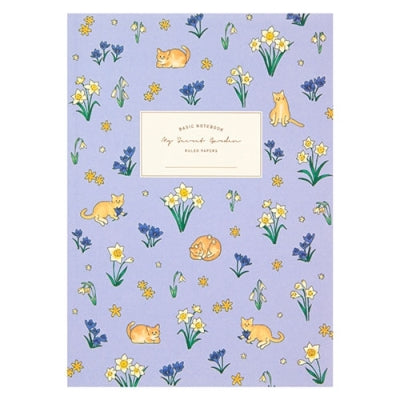 Notebook - Cat and Flowers (Blue) - Catoro Cat Cafe