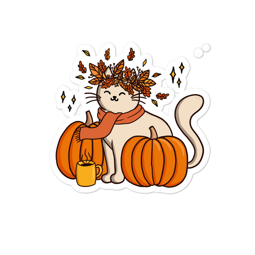 Pumpkin Kitty Sticker - Catoro Cat Cafe