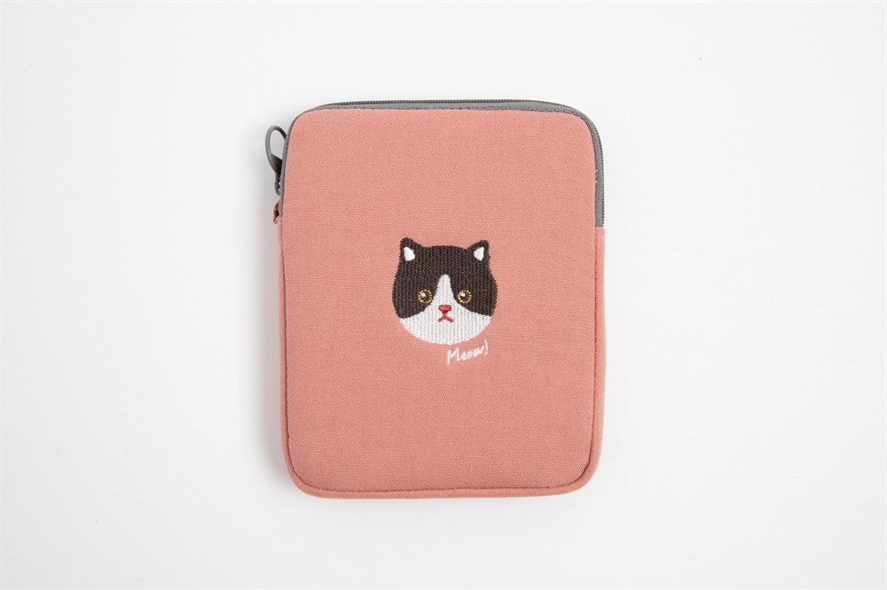 Embroidered Cat Pouch with Zipper - Catoro Cat Cafe