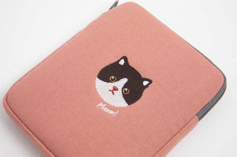 Embroidered Cat Pouch - Catoro Cat Cafe