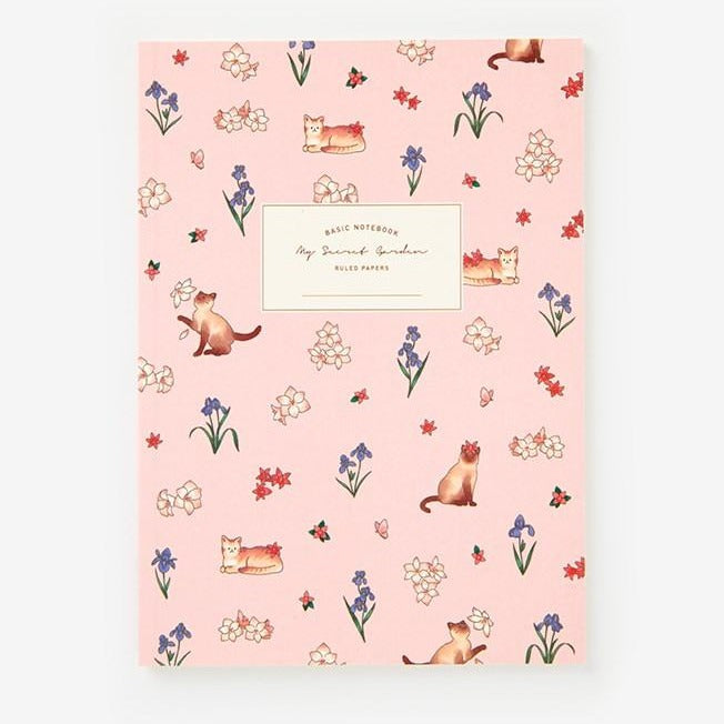 Notebook - Cat and Flowers (Pink) - Catoro Cat Cafe