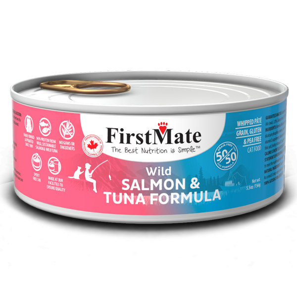 FirstMate Cat GF 50/50 Wild Salmon/Wild Tuna 156g/5.5 oz - Catoro Cat Cafe