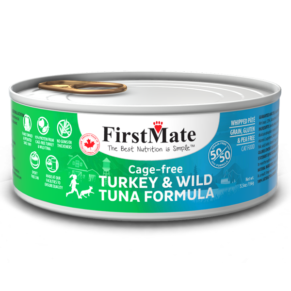 FirstMate Cat GF 50/50 Cage Free Turkey/Wild Tuna (156g/5.5 oz) - Catoro Cat Cafe