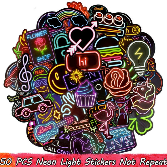50PCS Neon Light Sticker for Luggage Laptop Decal Skateboard Stickers Child Colorful Billboard Toys Can not Glow in the dark