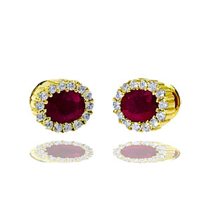 Burma Ruby 2.40 Carats set with Surrounding Halo Diamond, Earrings.
