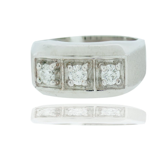 Diamond 3-Stone Ring .65 Carat  10.32 mm wide.