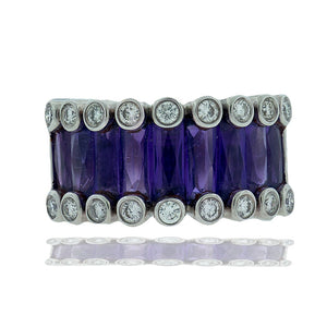 Swiss Cut Amethyst, 12.30 mm Band with Diamonds, 18Kt Ring