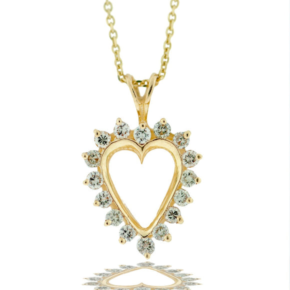 Pristine .69 ct. Diamond Heart Pendant, Yellow Gold