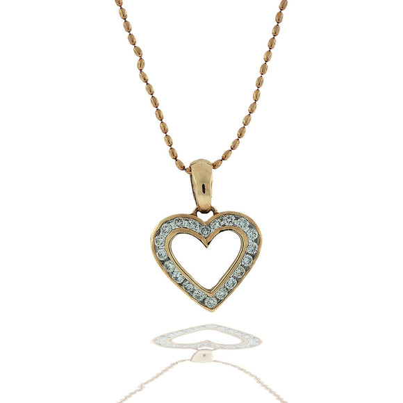 Channel Diamond Heart Necklace .40 Ct on Beaded Gold Chain