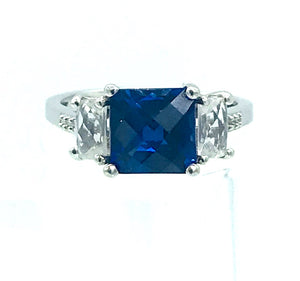 Cushion cut 7mm  Blue stone ring Sterling Silver