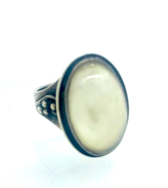 Calming Moonstone, Antique Sterling Ring, .75 Inch Length