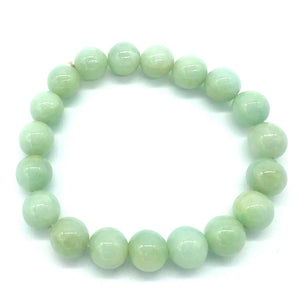 Jade Prayer Bead Bracelet 10.30 mm Natural Green