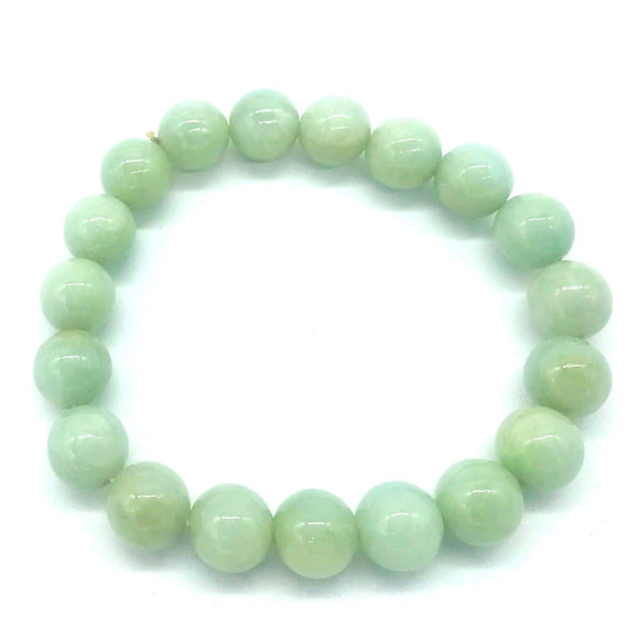 Jade, Prayer Bead Bracelet, 10.30 mm Natural Green